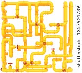 yellow gas pipes on a white...   Shutterstock . vector #1357924739
