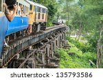 Thai Train On River Kwai Bridge ...