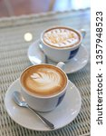 hot caramel macchiato and latte ... | Shutterstock . vector #1357948523
