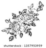 hand drawn floral bunch with...   Shutterstock . vector #1357953959