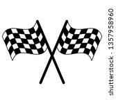 racing flags crossed symbol in... | Shutterstock .eps vector #1357958960