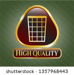 gold badge with wastepaper... | Shutterstock .eps vector #1357968443