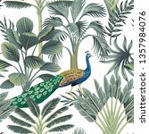 tropical vintage peacock bird ... | Shutterstock .eps vector #1357984076