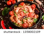 tasty pasta with shrimp and... | Shutterstock . vector #1358002109