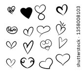 set of hand drawn hearts. love... | Shutterstock .eps vector #1358008103