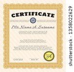 orange diploma template. money... | Shutterstock .eps vector #1358022629