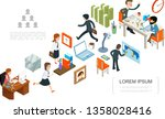 isometric office work concept | Shutterstock .eps vector #1358028416