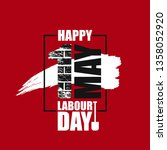 happy labour day vector label... | Shutterstock .eps vector #1358052920