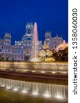 Plaza de Cibeles with Cybele Palace (formerly Palace of Communication) behind, Madrid, Spain