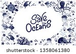 save the ocean hand drawn... | Shutterstock .eps vector #1358061380