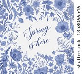 spring is here. horizontal card.... | Shutterstock .eps vector #1358066546