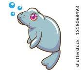 manatee vector cartoon | Shutterstock .eps vector #1358068493