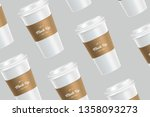 white pattern coffee cup mockup ... | Shutterstock .eps vector #1358093273