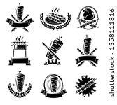 kebab labels and elements set.... | Shutterstock .eps vector #1358111816
