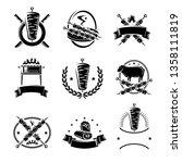 kebab labels and elements set.... | Shutterstock .eps vector #1358111819