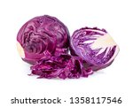 Red Cabbage Slice Isolated On...