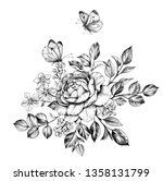 hand drawn bunch with rose ...   Shutterstock . vector #1358131799