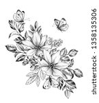 hand drawn floral bunch with... | Shutterstock . vector #1358135306