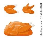 fried fresh chicken body. whole ... | Shutterstock .eps vector #1358147390