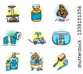 set of icons for pet shop with... | Shutterstock .eps vector #1358151356