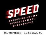 speed style font  alphabet... | Shutterstock .eps vector #1358162750