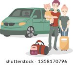 happy family with baggage in... | Shutterstock .eps vector #1358170796