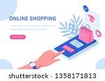 online shopping and mobile... | Shutterstock .eps vector #1358171813