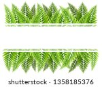 green fern leaves border with... | Shutterstock .eps vector #1358185376