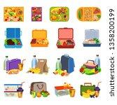 lunchbox icons set. cartoon set ... | Shutterstock .eps vector #1358200199