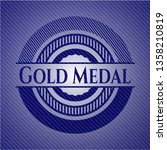 gold medal emblem with jean... | Shutterstock .eps vector #1358210819