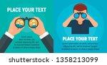 binoculars banner set. flat... | Shutterstock .eps vector #1358213099