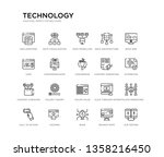 set of 20 line icons such as... | Shutterstock .eps vector #1358216450