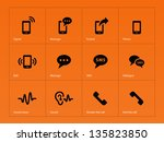 phone icons on orange... | Shutterstock .eps vector #135823850