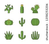 wild cactuses color icons set.... | Shutterstock .eps vector #1358253206