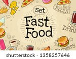horizontal poster fast food.... | Shutterstock .eps vector #1358257646
