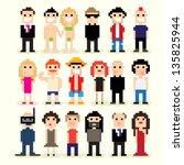set of different pixel people ... | Shutterstock .eps vector #135825944