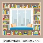 reading room. interior of... | Shutterstock .eps vector #1358259773