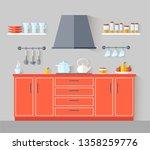 flat style kitchen. interior... | Shutterstock .eps vector #1358259776