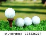 golf balls on grass outdoor... | Shutterstock . vector #135826214