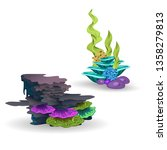 a set of corals and algae | Shutterstock .eps vector #1358279813