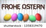 easter eggs on wooden... | Shutterstock . vector #1358319470
