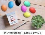 easter eggs tear off calendar... | Shutterstock . vector #1358319476