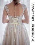Small photo of Cream bridesmaid dress. Wedding Dress. Holiday dress.