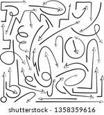 vector unusual hand draw arrows ... | Shutterstock .eps vector #1358359616