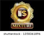 Golden Emblem With Stack Of...