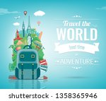travel composition with famous... | Shutterstock .eps vector #1358365946