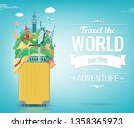 travel composition with famous... | Shutterstock .eps vector #1358365973