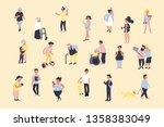 set of cartoon people walking... | Shutterstock .eps vector #1358383049