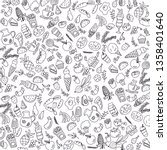food drawing  black   white... | Shutterstock .eps vector #1358401640
