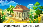 Vector Antique Temple With...